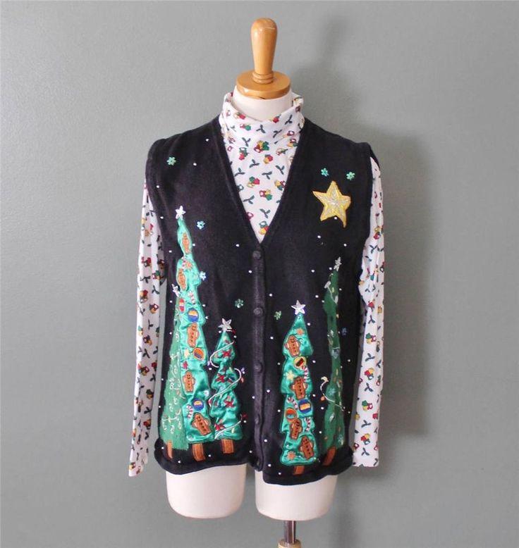 Ugly Christmas Sweater Vest jumper Women cotton M men S w/ TURTLENECK black CS27 #OneResource #VestSleeveless