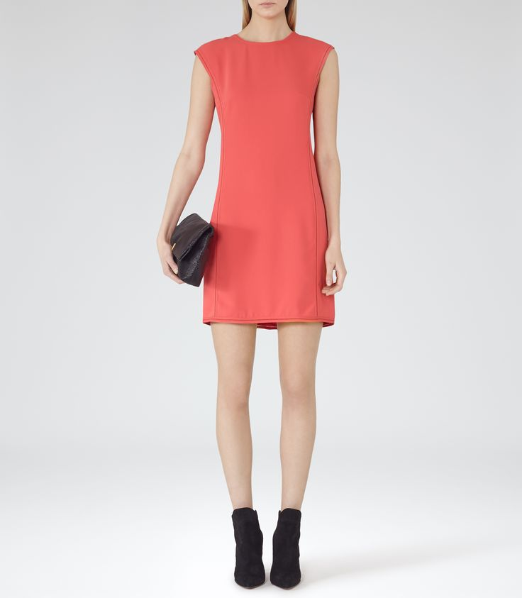 Womens Guava Stitch Detail Dress - Reiss Aura