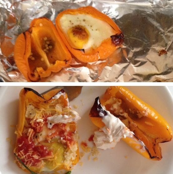 Oven baked eggs in peppers Mexican style! Crumbled tortilla chips, sour cream,salsa, cheddar cheese and green chillies!