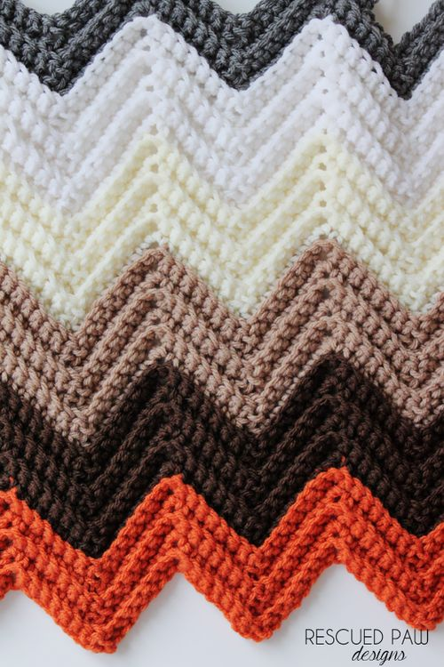 Chevron Single Crochet Tutorial by Rescued Paw Designs. Make a beautiful Chevron Blanket out of single crochets!