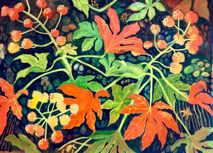 Festive Fatsia, oil on canvas
