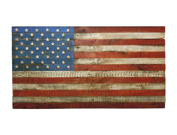 American flag us usa 3d wall art reclaimed pallet wood weathered wooden home decor - American flag pallet art ...