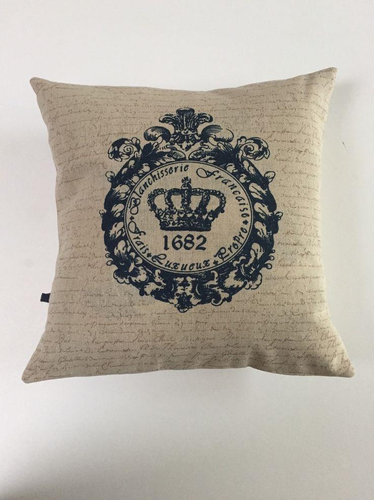 Housse de coussin 40/40cm lin inscription la blanchisserie française : Textiles et tapis par cecilcou