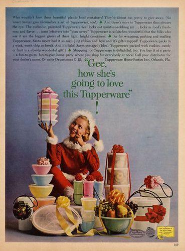 Tupperware ad, christmas theme, 1962 by Gatochy, via Flickr