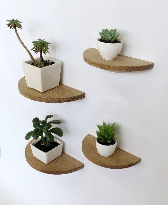 Set of four half round white oak shelves by offcutstudio on Etsy