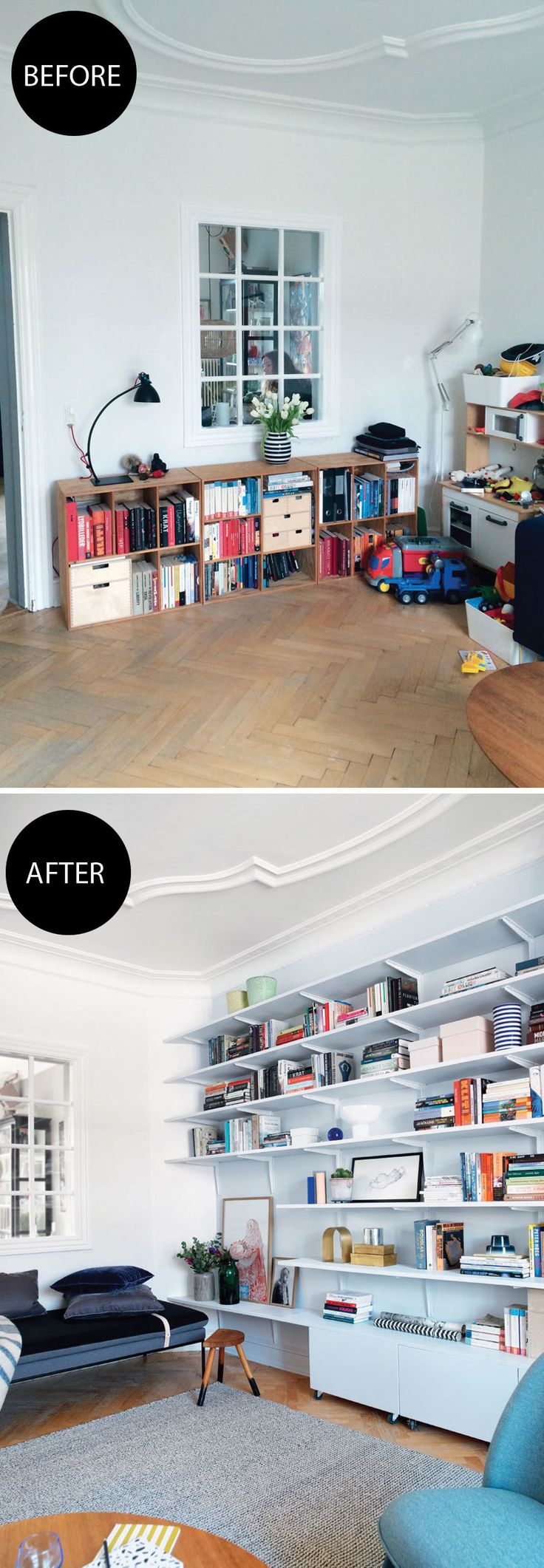 The makeover of this living room is amazing. It was transformed from a messy corner to a stylish living room with beautiful storage.