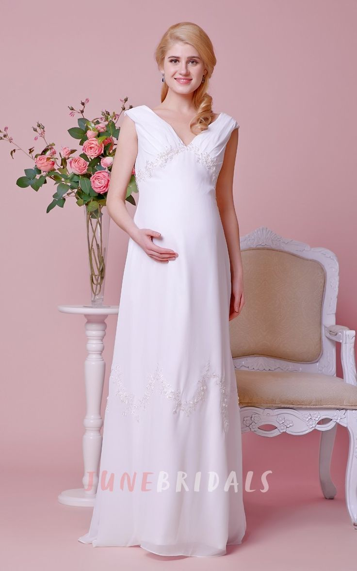 66 best maternity wedding dresses images on pinterest maternity sexy cap sleeved low v neck a line chiffon gown with empire waist maternity wedding ombrellifo Images