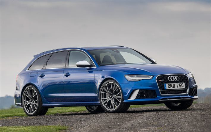 Audi RS6 Avant, wagons, 2017 cars, supercars, blue rs6, audi