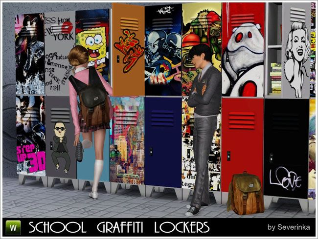School lockers with graffiti