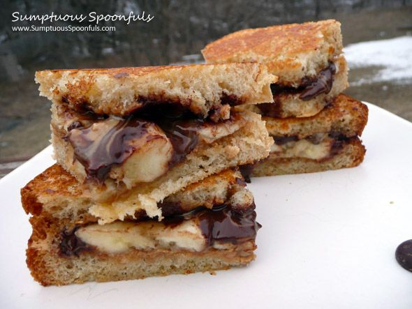 ... mmm looks tasty Toasted Peanut Butter, Banana & Dark Chocolate Panini