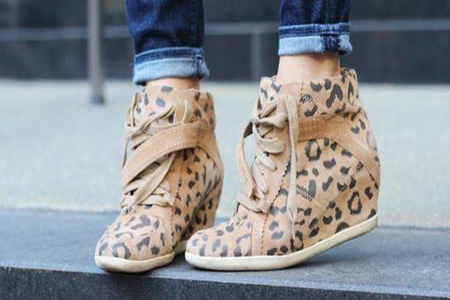 lepard print high heeled tennis shoes