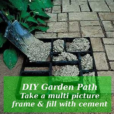 DIY Garden Path Take a multi picture frame & fill with cement #diy #gardening #pictureframe #upcycle #landscaping