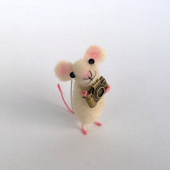 Mouse with camera brooch Needle felt mouse accessory by CozyMilArt