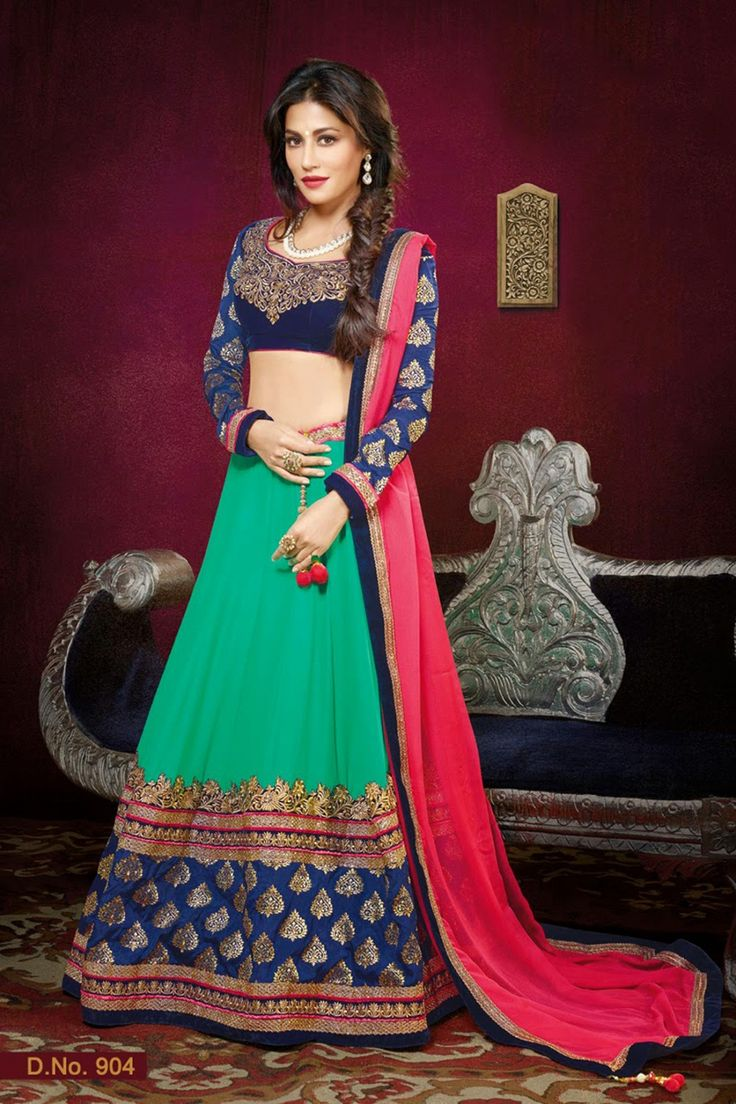 Go gorgeous with Chitrangada Singh Green and Blue Faux Georgette Lehenga Choli Shop now http://zohraa.com/sarees/sari/lehenga-choli/green-faux-georgette-lehenga-choli-z1633p904-17.html sku : 60730 Price Rs. 6,699  ‪#‎lehengacholi‬ ‪#‎lehengaonline‬ ‪#‎lehengacholionline‬ ‪#‎lehenga‬
