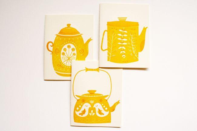 Erin Wallace: Teapots Erinwallace, Letterpress Teapot, Tea Time, Vintage Teapots, Yellow Teapots, Illustration, Teapot Cards, Tea Pots, Teapot Prints