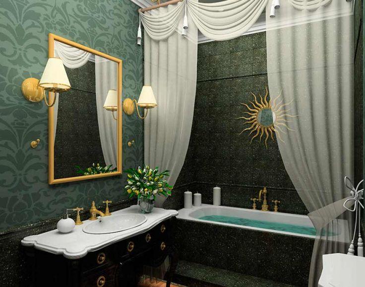 Классическая ванная комната темно-зеленого цвета: купить всё необходимое и получить консультацию дизайнера вы можете в Центре дизайна и интерьера 'ЭКСПОСТРОЙ на Нахимовском'