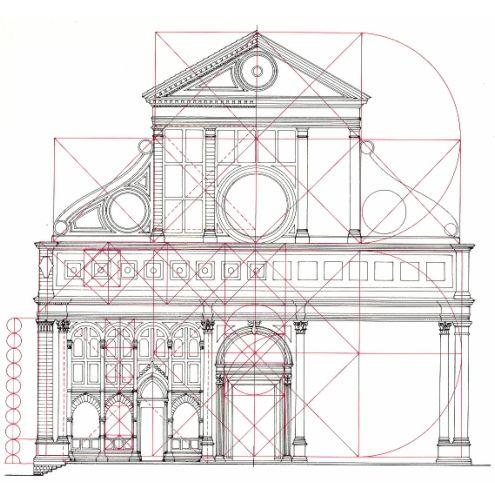 Studio della facciata di Santa Maria Novella di Firenze su disegno di Leon Battista Alberti. Nel disegno è ricostruita la proporzione aurea.