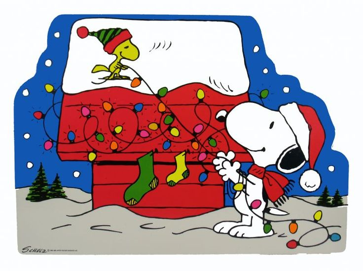 Snoopy and Woodstock, putting Christmas decorations on the Dog House, wall decal.