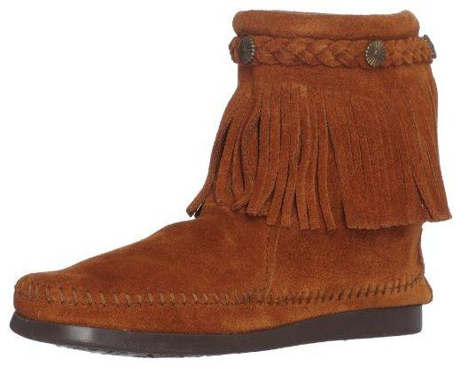 Minnetonka Damen Hi Top Back Zip Kurzschaft Mokassin Stiefel, Braun (Brown), 38.5 EU - Stiefel für frauen (*Partner-Link)