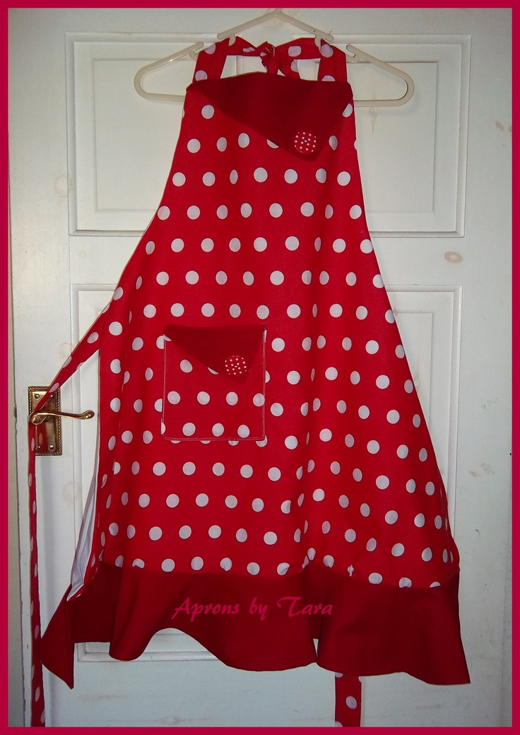Red and white polka dot apron 618
