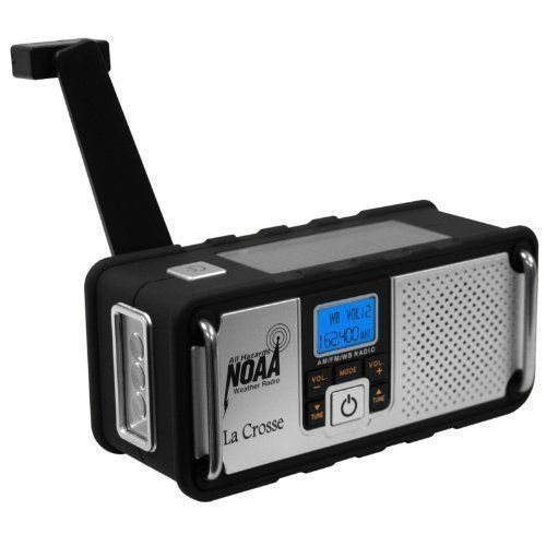 La Crosse AM FM NOAA Weather Radio Solar and Fast Crank Charge and Earphone  #LaCrosse