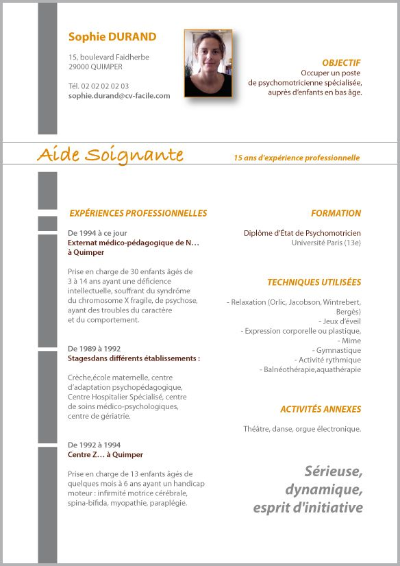 cv sans photo secretaire