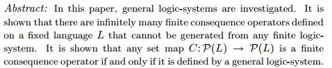 General Logic-Systems and Consequence Operators http://arxiv.org/pdf/math/0512559.pdf