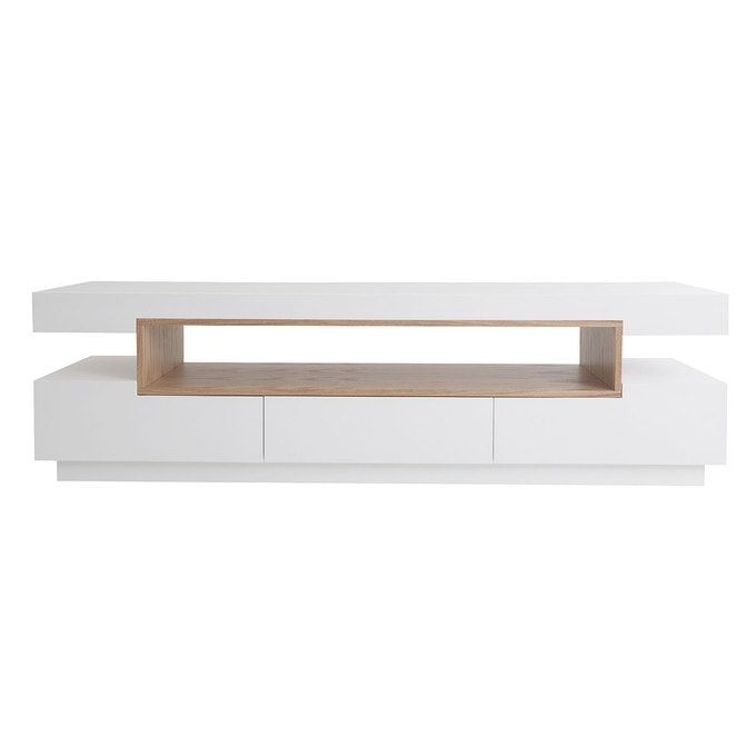 Meuble Tv Design Blanc Et Bois Livo In 2020