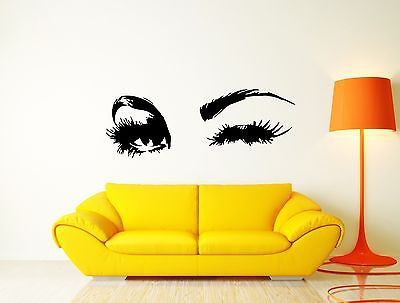 Wall Vinyl Sticker Decal Sexy Girl's Face Wink Beautiful Eyes Salon Spa (m462)