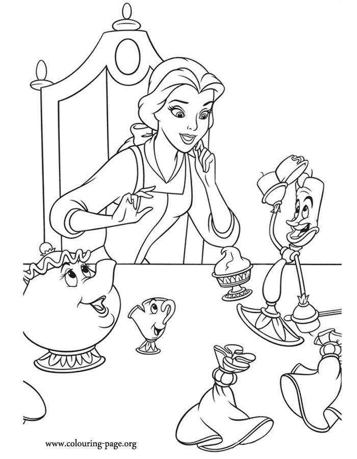 belle having dinner with her friends mrs potts chip and lumiere - Lumire Colore