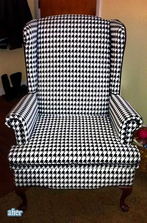 I love this black and white chair. its before was truly UGLY