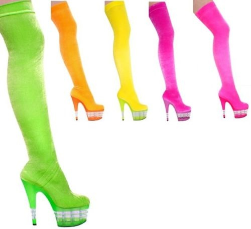 """US $124.99 - these would be awesome but ridiculous price!! 7"""" NEON VELVET STRETCH THIGH HIGH BOOTS - Sizes 5-12"""