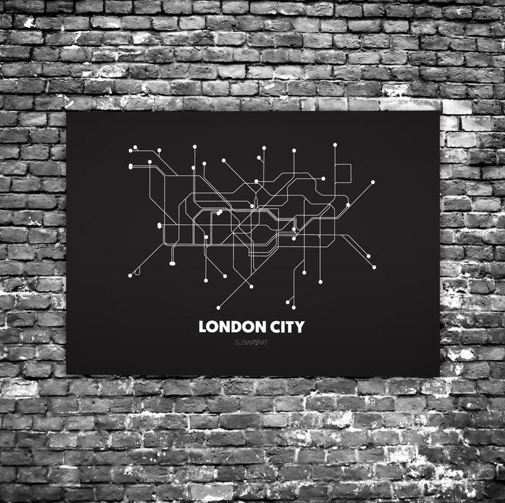 London City C1 - Acrylic Glass Art Subway Maps (Acrylglas, Tube, Underground)