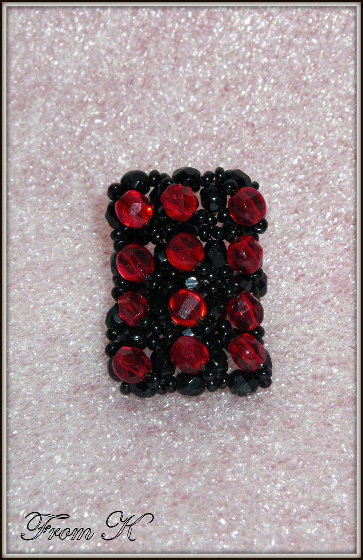 Geometric Ring. (rectangle). Czech beads and crystals are used. For more photos, prices and other info, please visit my facebook page https://www.facebook.com/media/set/?set=a.255836934442612.81617.246629745363331&type=3