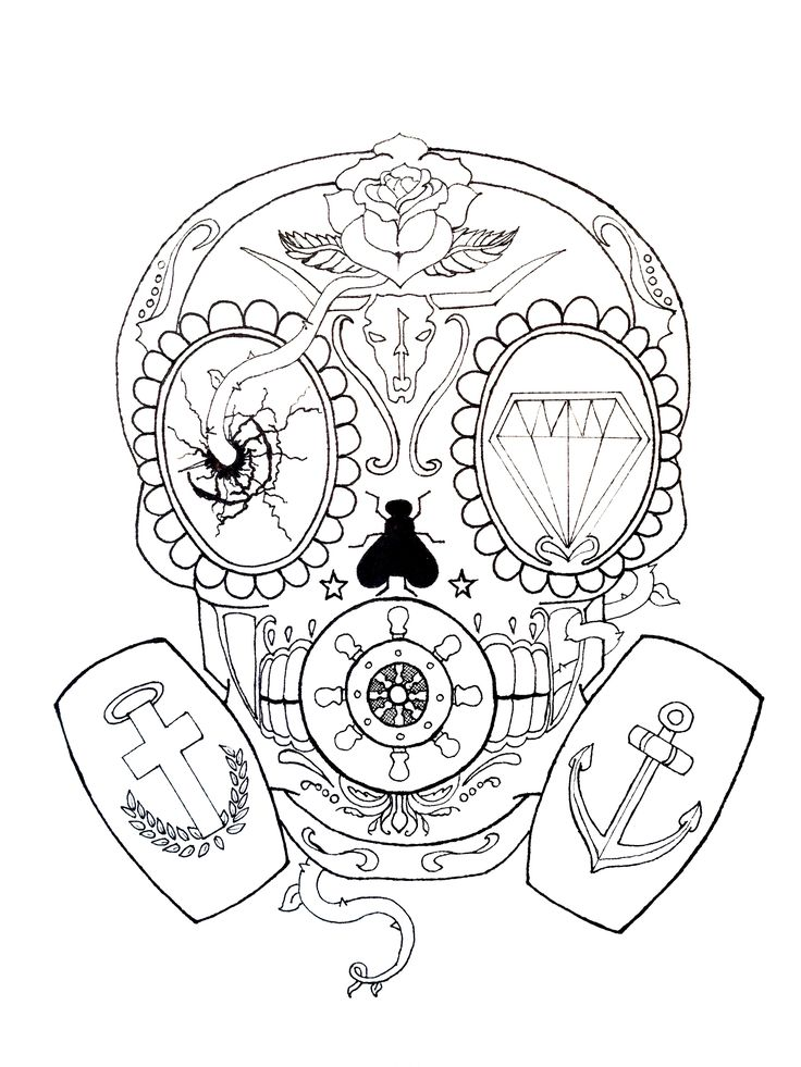Calavera Gas Mask Skull - by Greg Loizou This started as a ... Gas Mask Tattoo Sketch