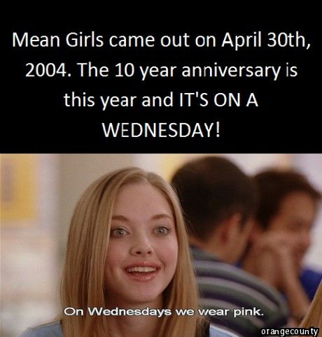 Be sure to wear your Pink on Wed., Apr. 30th...Mean Girl Style!! #ugoGlennCoCo #1ofmyfavmovies