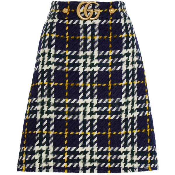 Gucci Plaid wool skirt ($865) ❤ liked on Polyvore featuring skirts, bottoms…