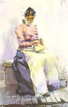 Maori Girl Weaving by Frances  Hodgkins