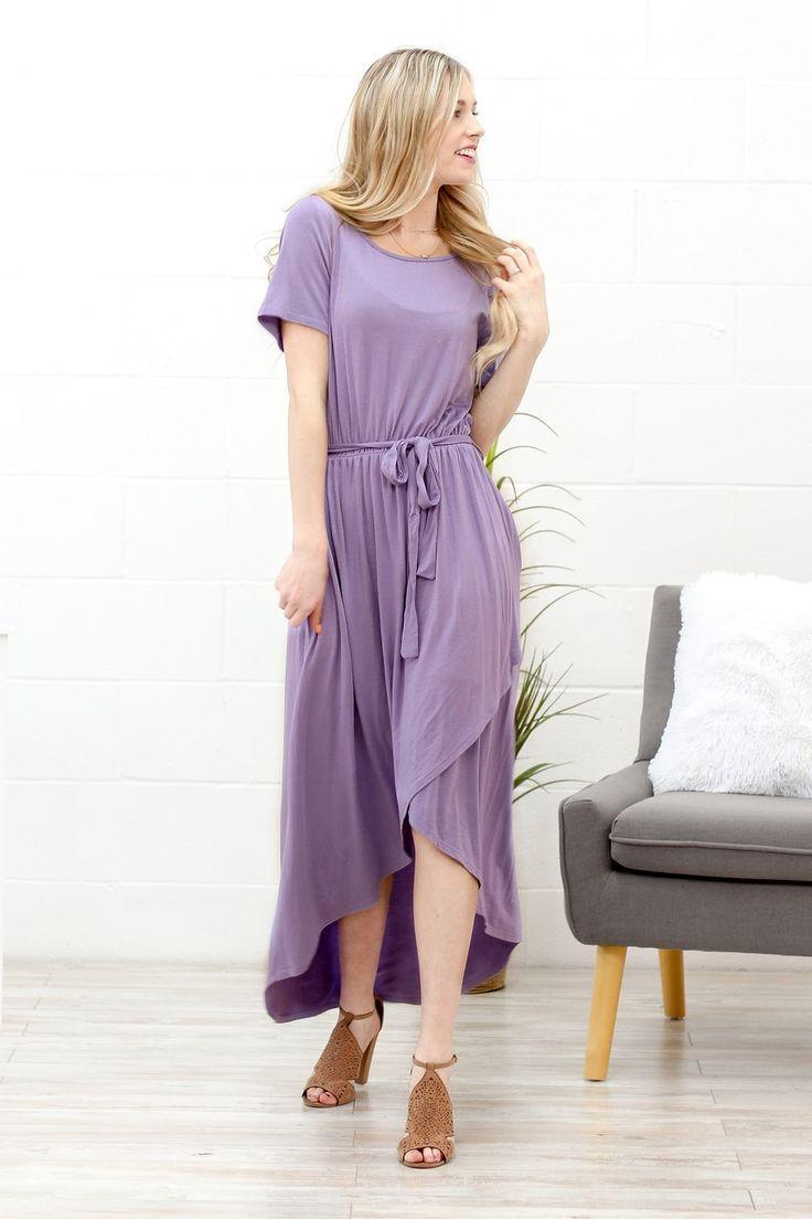 Lavender Wrap Dress // Modest lavender wrap dress perfect for spring!   Modest dresses, Spring dresses casual, Modest spring outfits