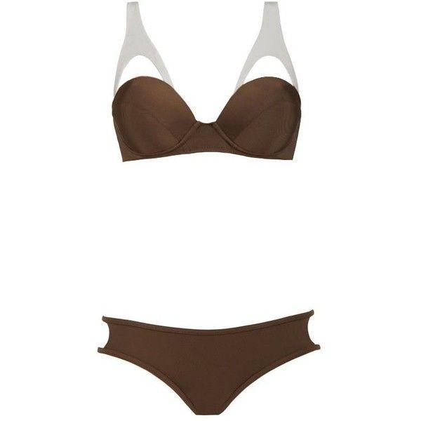 Moeva London Coco Bikini ($159) ❤ liked on Polyvore featuring swimwear, bikinis, brown, bandeau top bikini, push up bathing suits, bandeau bikini, bikini bathing suits and push up bikini
