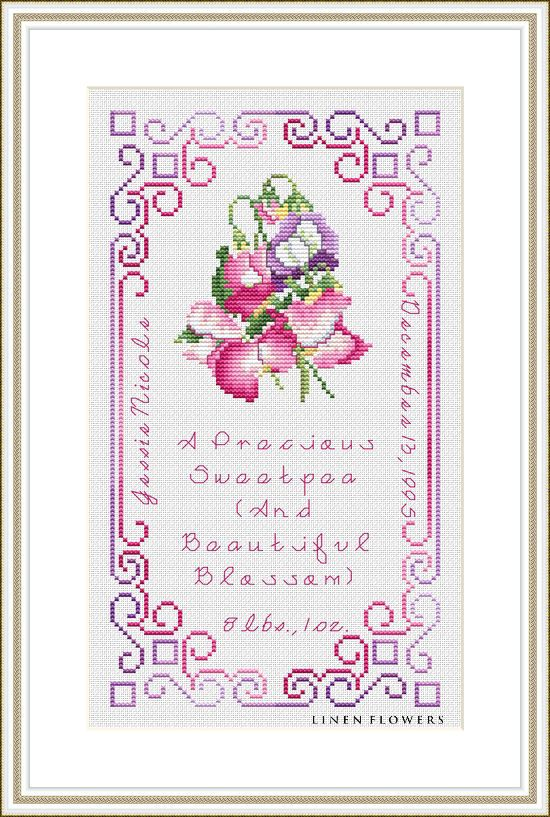 """#198 Precious Sweetpea  A Cross Stitch Series for the nursery, """"Sweet Baby Sayings"""", will steal your heart in anticipation of stitching for the new baby's arrival. Options include stitching the complete birth sampler, or only the inner portion, suitable for a baby's room pillow. This one describes the new baby with, """"A Lovely Little Cupcake, Full Of Sweetness."""" Design size: Sampler: 78 w x 141 h. Inner Portion: 50 w x 99 h. Project uses DMC Floss. Use a Fabric Calculator to determine…"""