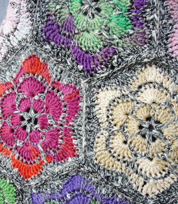 Crochet Floral Bag Kaleidoscope Hobo Bag Crocheted Flowers