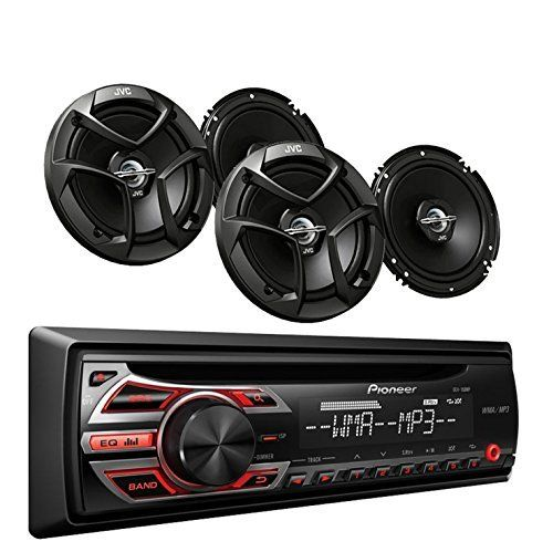 Pioneer DEH-150MP Car Audio CD MP3 Stereo Radio Receivers Player, Front Aux Input with JVC 6.5 Inch 2-WAY Car Audio Speaker