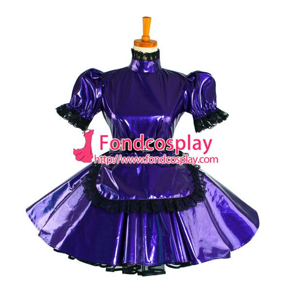 Free Shipping Lockable Sissy Maid Dress Pvc maid Uniform cosplay costume Tailor-made