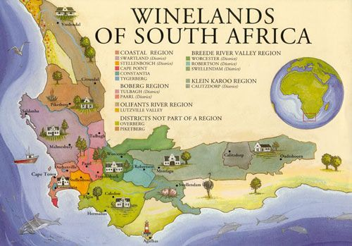 For those who are unfamiliar, here is a good map of the wine regions of South Africa. I've never really heard of most of the areas commercially but hope to explore a few more in the upcoming years.