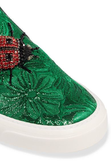 Rubber sole measures approximately 20mm/1 inch Green brocade Slip on Made in Italy