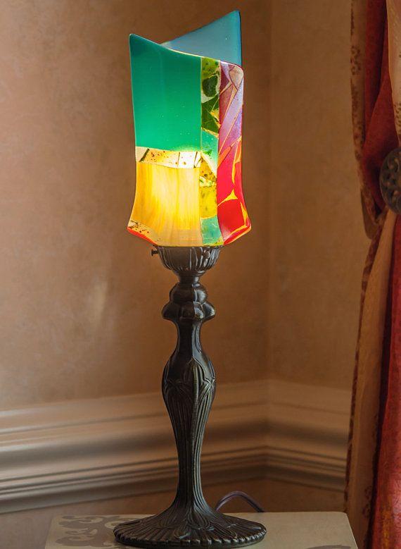 art deco table lamp fused glass lamp unique table lamp art glass lighting lighting