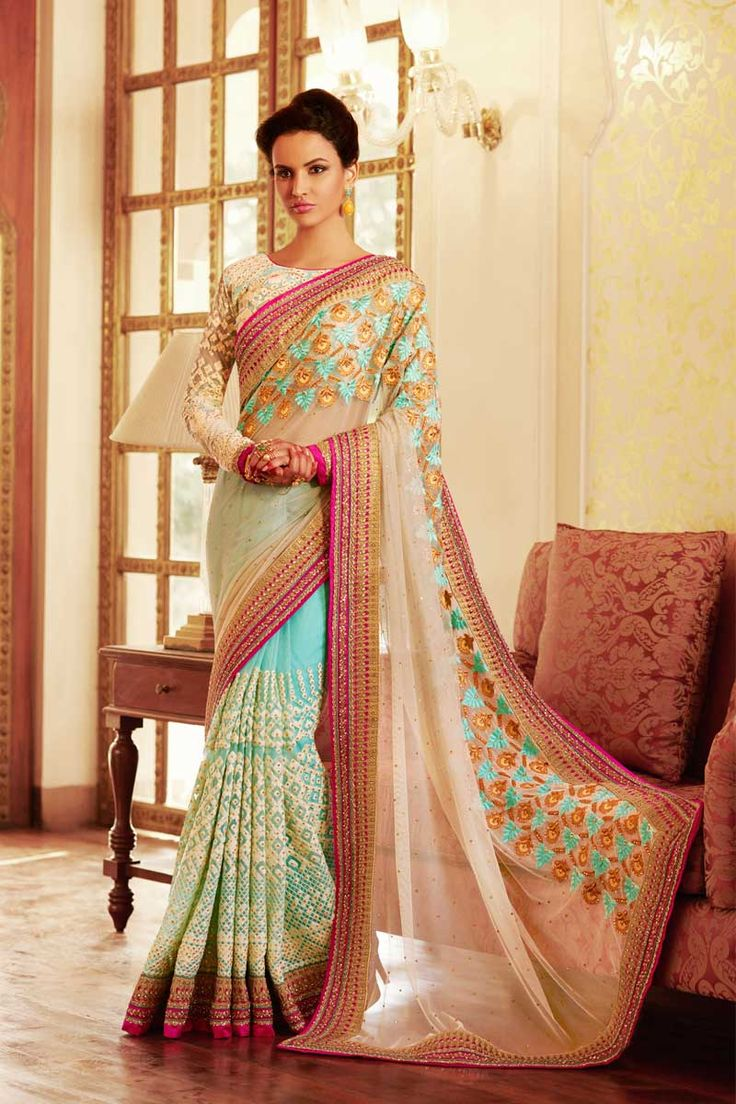 #Skyblue, cream #Georgette Saree With Net Blouse  http://www.andaazfashion.fr/womens/sarees/skyblue-cream-georgette-saree-with-net-blouse-dmv8440-23828.html