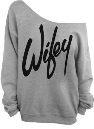 Sexy Gray Wifey Print Off The Shoulder Sweatshirt, Sweater