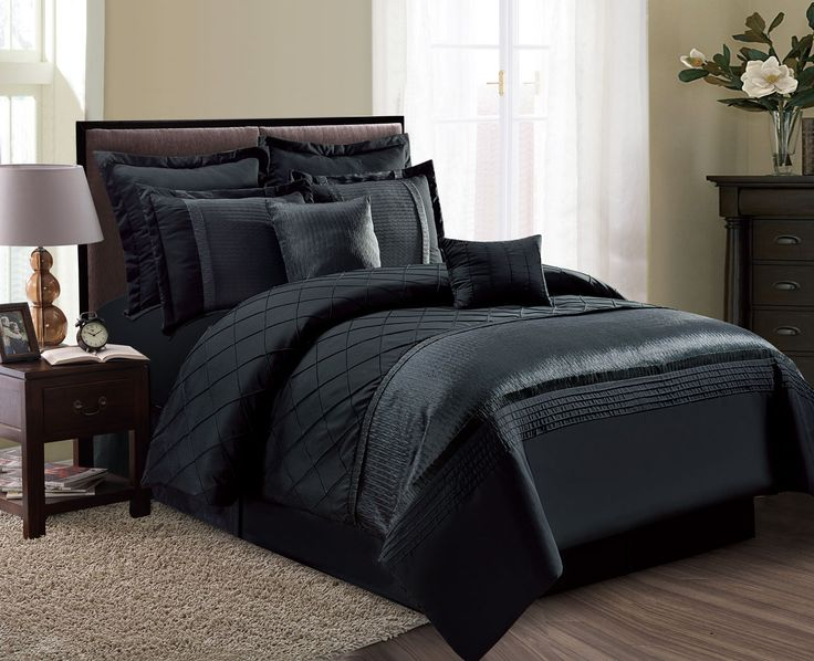 8 piece fiona black comforter set